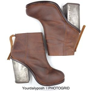 Jeffrey Campbell brown leather Reverb ankle bootie